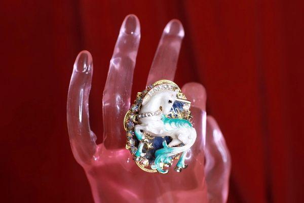 8492 Genuine Huge Agate Unicorn Cocktail Adjustable Ring
