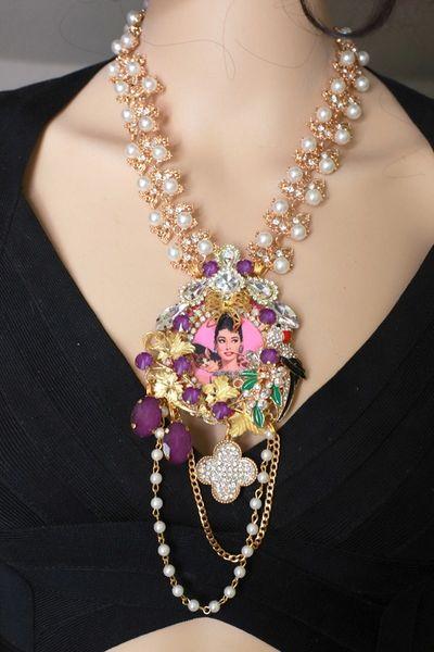 8496 Audrey Hepburn Grapes Diamonds Massive Statement Pearl Necklace