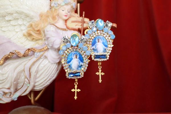 8499 Virgin Mary Madonna Blue Rhinestone Sky Studs Earrings