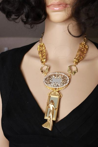 8502 Art Deco Gold tone Lady In The Mirror Massive Elegant Necklace