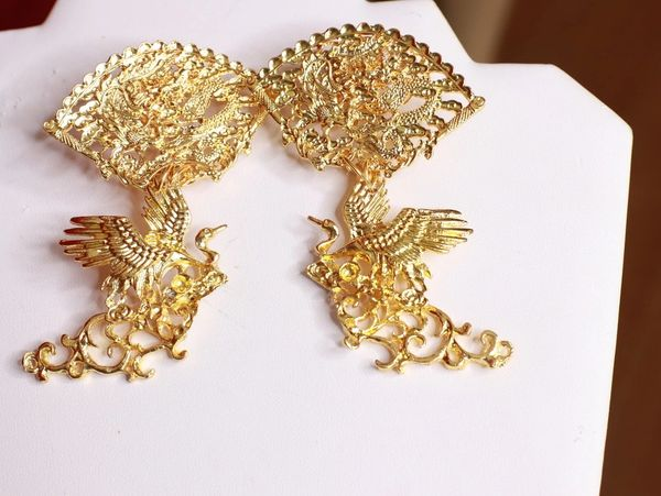SOLD! 8508 Japanese Revival Cranes Gold Tone Studs Earrings