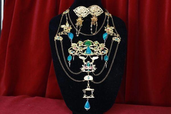 8511 Japanese Cranes Fan Faces Genuine Lace Onyx Long Massive Necklace