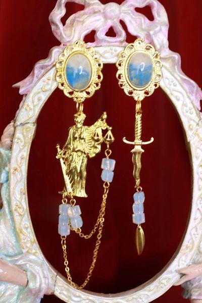 SOLD! 8514 Justice Sword Irregular Gold Tone Studs Earrings