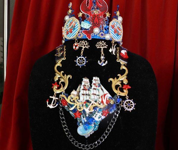 8515 Set Of Nautical ship 3D Effect Genuine Opal Massive Necklace+ Earrings