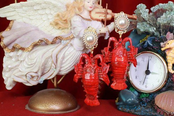 8517 Nautical Red Lobster Huge Beach Studs Earrings