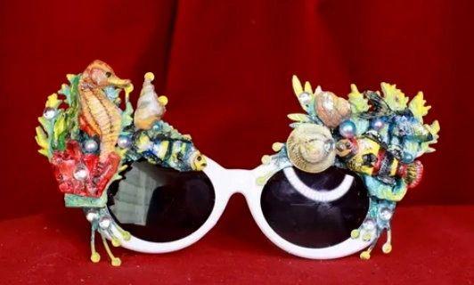 8518 Nautical Sea Horse Sea Fish Embellished Sunglasses