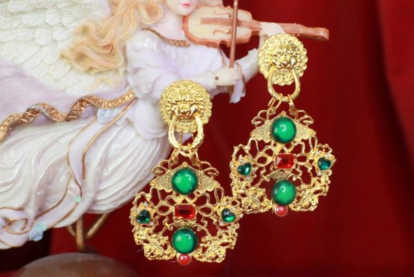 8520 Japanese Revival Gold Tone Green Red Studs Earrings