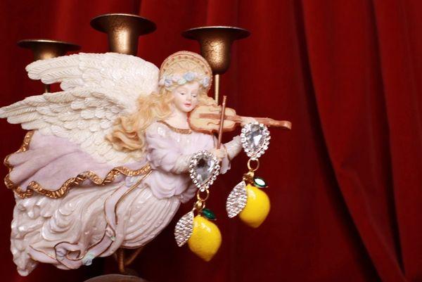 8525 Baroque Clear Rhinestones Lemon Fruit Studs Earrings