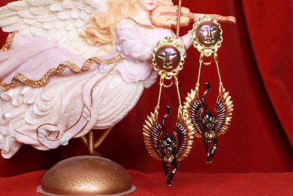 8526 Egyptian Revival Bastet Enamel Studs Earrings