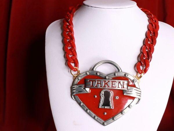 8537 Baroque Massive Metal TAKEN Heart Statement Necklace