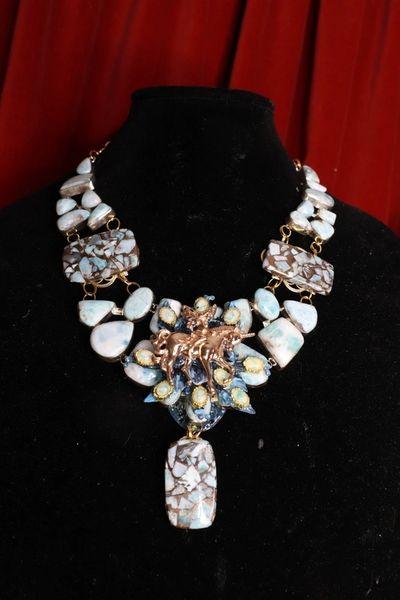 8538 Genuine Caribbean Larimar Gemstones Fairy Unicorn Statement Necklace