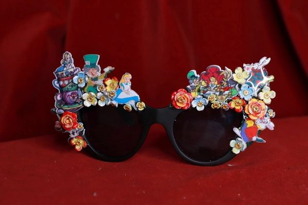 8539 Alice In Wonderland Fancy Embellished Sunglasses