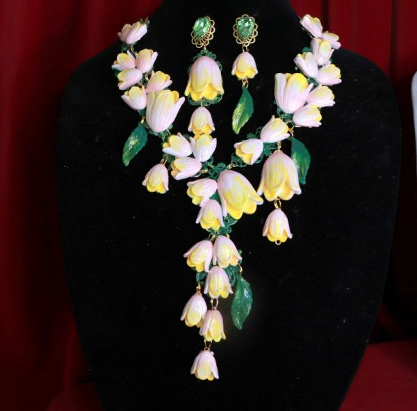 8541 Set Of Magnolia Flower Irregular Hand Painted Statement Necklace+ Earrings