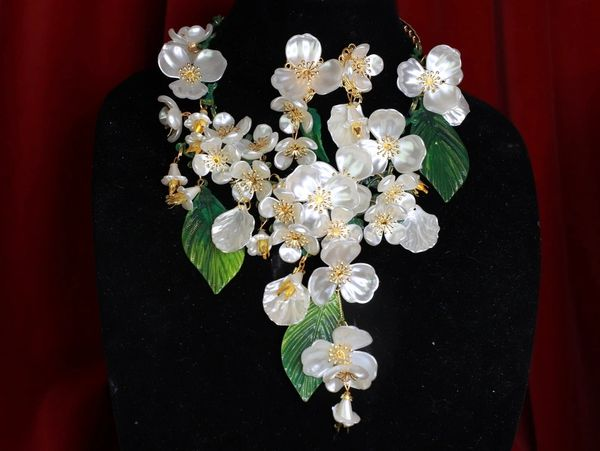 8543 Set Of Magnolia Flower Irregular Hand Painted Statement Necklace+ Earrings