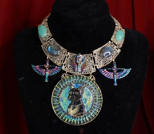 8544 Set Of Egyptian Revival Hand Painted Bastet Genuine Azurite Iridescent 3D Effect Statement Huge Necklace+ Earrings