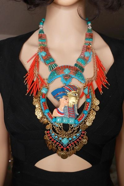 8545 Set Of Egyptian Revival Pharaoh Sterling Silver Genuine coral 3D Effect Statement Huge Necklace+ Earrings