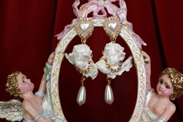 8546 Small Baroque White Bridal Chubby Cherubs Angels Clear Rhinestones Earrings