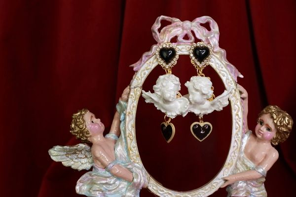 8547 Small Baroque White Bridal Chubby Cherubs Angels Black Heart Earrings
