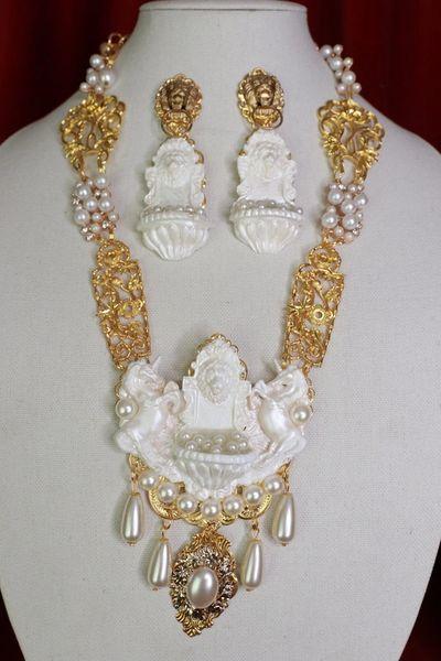 8550 Baroque Lion Fountain Unicorn Pearlish Massive Pendant Necklace