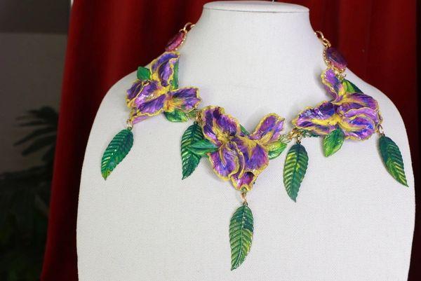 8551Art Nouveau 3 Irises Flower Hand Painted Necklace