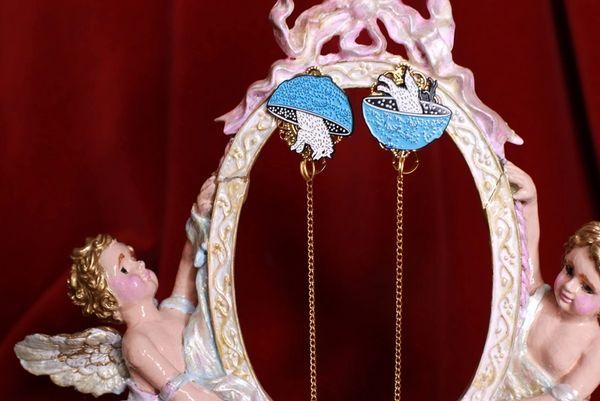 8556 Chained Enamel Wolf Irregular Studs Earrings