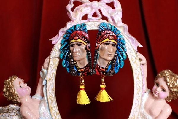 8557 Native Indian American Chief Hand Painted Light Weight Earrings