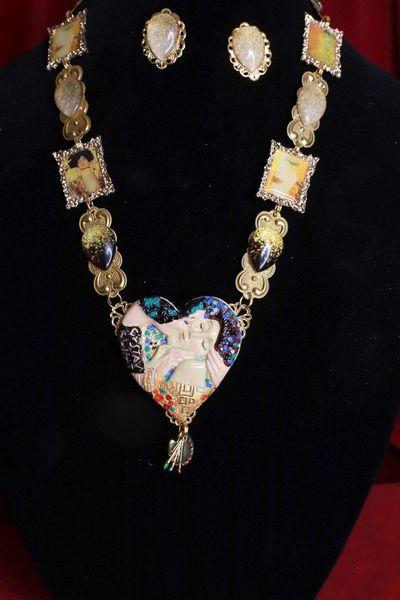 8558 Set Of Gustav Klimt Carved Heart Frames Necklace+ Earrings