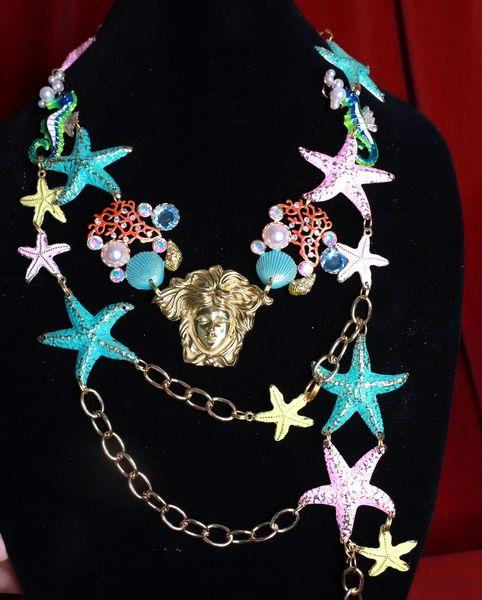SOLD! 8559 Baroque Massive Nautical Stars Medusa Necklace
