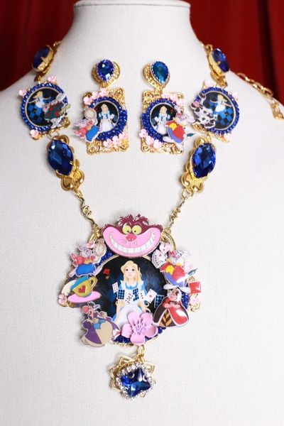 SOLD! 8563 Set Of Alice In Wonderland Adorable Necklace+ Earrings