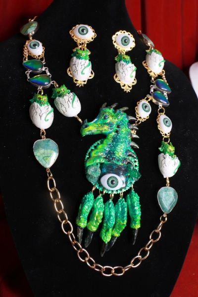 8564 Medieval Genuine Druzy Agate Gemstones Dragon's Babies Necklace