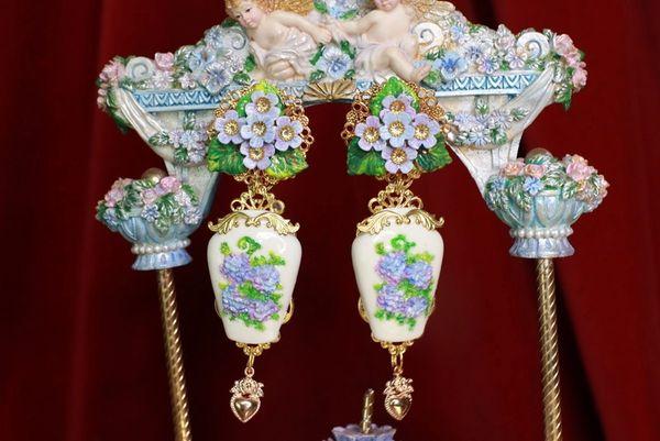 8566 Victorian Vase Hydrangea Flower Earrings