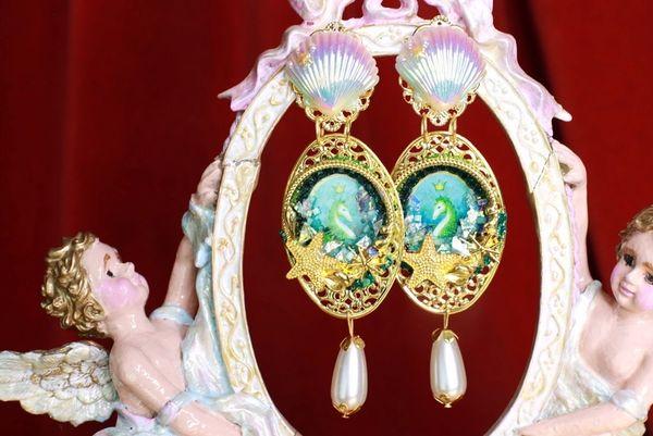 8570 Nautical Seahorse Cameo Long Pearl Shell Earrings