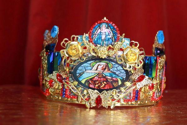 8572 Jesus Saints Sacred Heart Cameos Crown Tall Headband