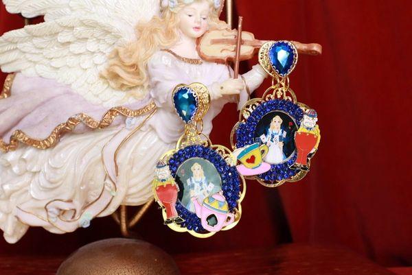 8573 Alice In Wonderland Massive Blue Studs Earrings