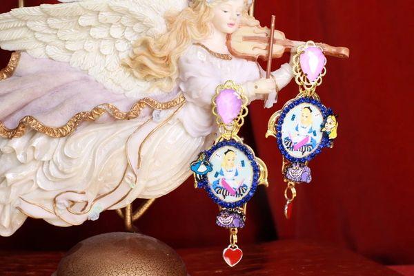 8574 Alice In Wonderland Fuchsia Studs Earrings