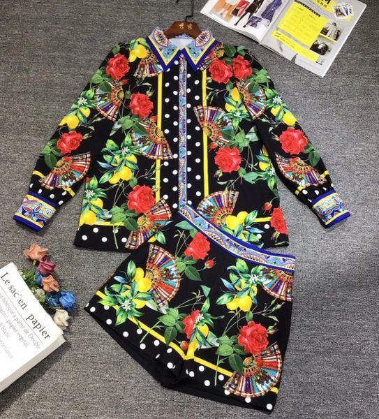 8577 Runway 2021Baroque Roses Fan Print Shirt+ ShortsTwinset