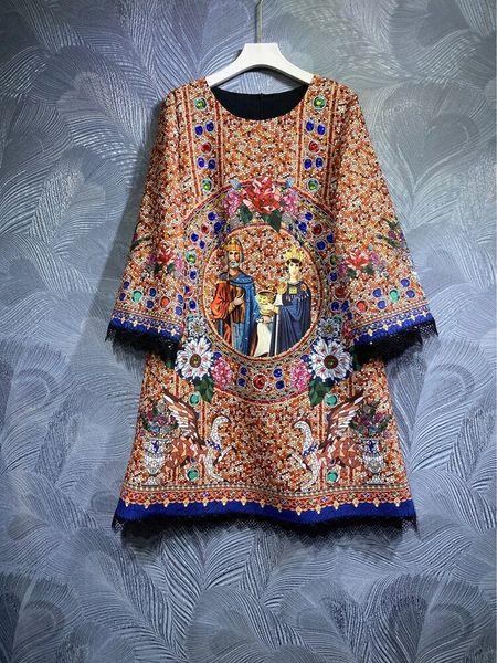 8580 Runway 2021 Baroque Mosaic Print Mini Dress