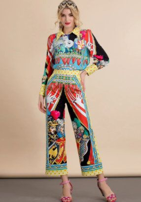 8581 Runway 2021 Baroque Knights Print Shirt+ Pants Twinset