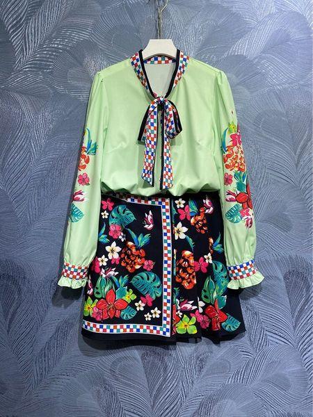 8582 Runway 2021 Baroque Floral Print Shirt+ Skirt Twinset
