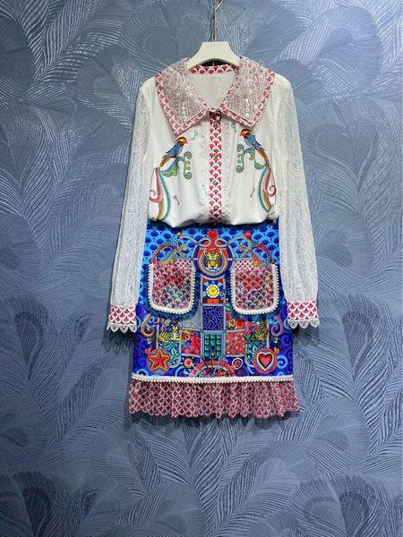 8583 Runway 2021 Oriental Print Blouse+ Skirt Twinset