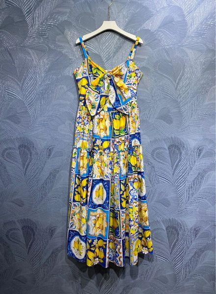 8584 Runway 2021 Baroque Lemon Print Cotton Mid Cuff Dress