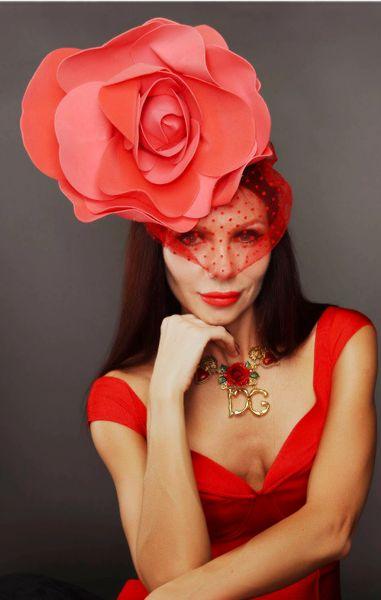 8590 Bridal Performance Large Red Rose Vale Headband