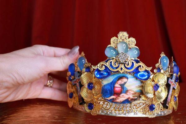 8592 Virgin Mary Madonna Blue Cameos Crown Tall Headband