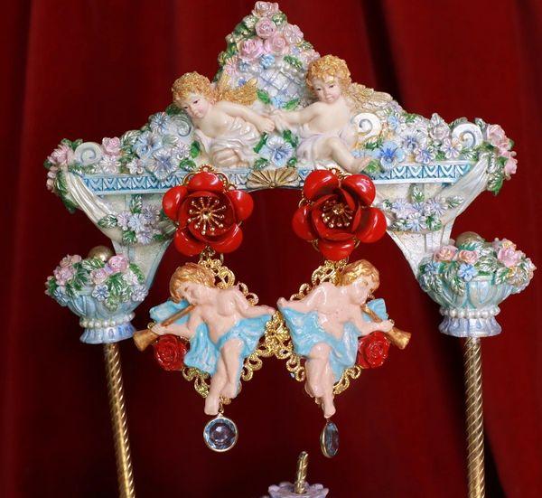 8595 Baroque Cherubs Red Rose Earrings Studs