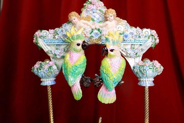 8598 Art Nouveau Vivid Hand Painted Pastel Light Weight Parrots Earrings