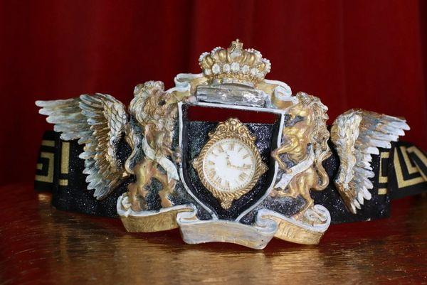 8607 Art Jewelry Roman Winged Shield Clock Embellished Waist Gold Belt Size S, L, M