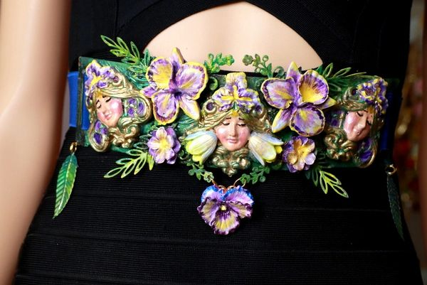 8610 Art Jewelry Viola flower Goddess Embellished Waist Gold Belt Size S, L, M