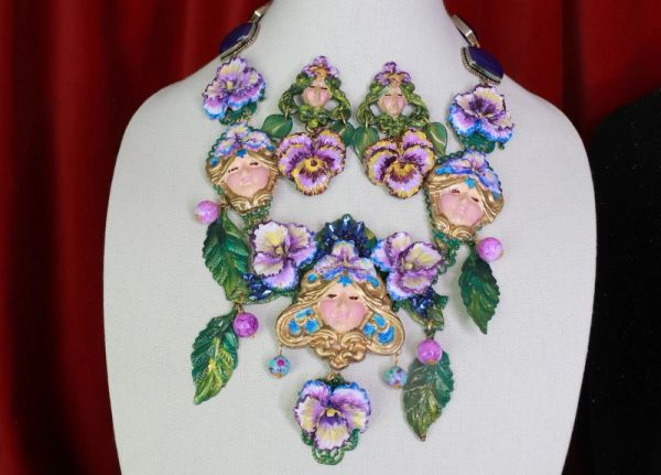 8611 Art Jewelry Viola Goddess 3D Effect Unusual Hand Painted Huge Necklace