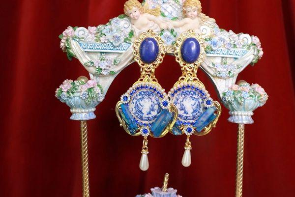 8612 Baroque Tile Cherubs Genuine Titanium Cameo Elegant Studs Earrings