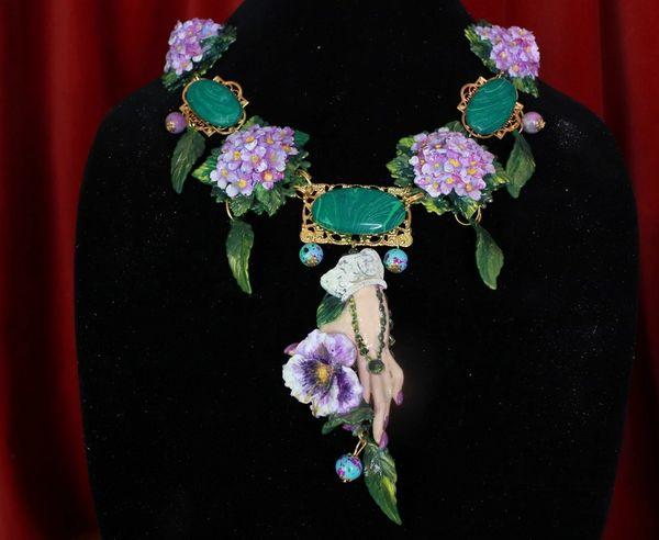 8613 Genuine Malachite Gemstones Hand Painted Hydrangea Flower Hand Viola Necklace